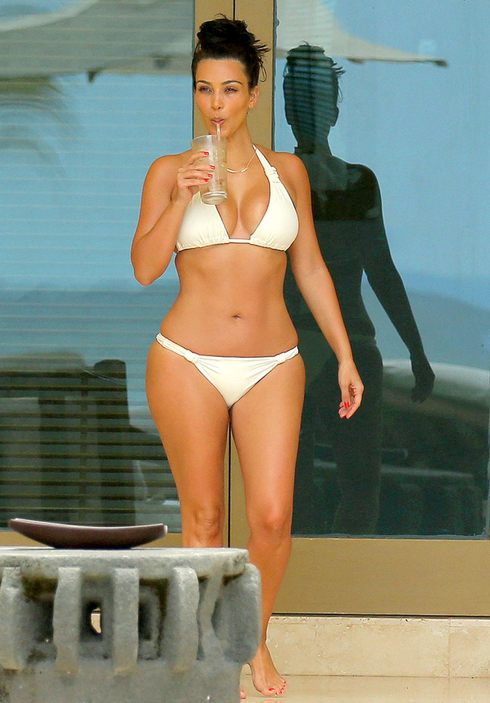 Kim Kardashian Wearing White Bikini with New Husband Kanye West Honeymoon at Mexico