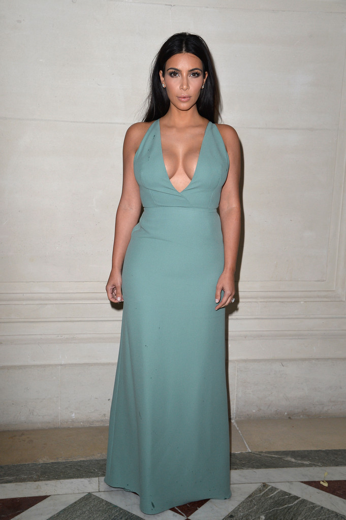 Kim Kardashian Flaunts Major Cleavage in Plunging Blue Dress at Valentino Haute Couture Fashion Show