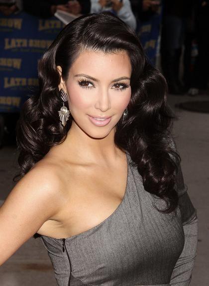 Kim Kardashian Pinned Up Barrel Curls